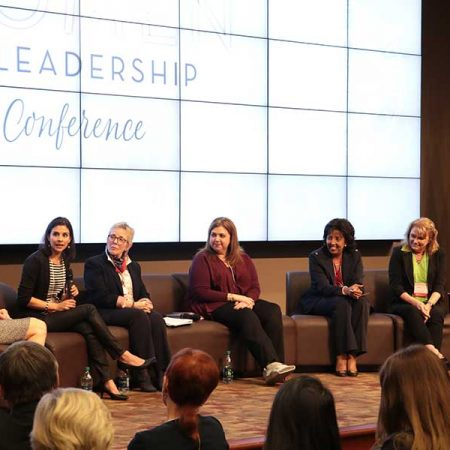 From left: Laura Osteen, Maureen Isern, Susan Fiorito, Julie Dunn, Judge Nina Ashenafi Richardson and Janet Kistner discussed a variety of topics during the opening panel of the 2017 Women in Leadership Conference.