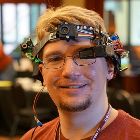 FSU computer engineering student Ryan Whitney displayed his head-mounted, wearable computing device at DIGITECH 2017 on Wednesday, April 12, 2017.
