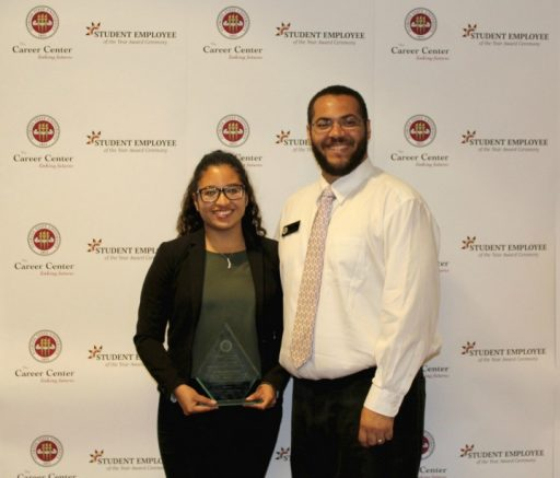 The Tony DiBenedetto Overall Student Employee of the Year Award winner Maria Montano with her nominator, Tadarryl Starke.