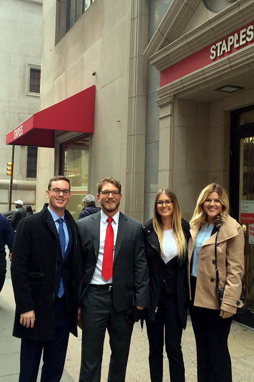 Michael Walsh, Race Smith, Michelle Langborgh and Sarah Flemister in Philadelphia for the 2017 Villanova Real Estate Challenge.