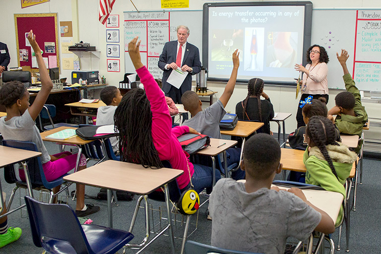 FSU President John Thrasher taught a science lesson at Fairview Middle School in Tallahassee to recognize the continuing success of the FSU-Teach program, which encourages science and math students to become secondary school teachers.