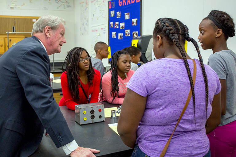 FSU President John Thrasher teaches a science lesson at Fairview Middle School on April 20, 2017. He co-taught with FSU alumna Nancy Narvaez to recognize the continuing success of the FSU-Teach program.