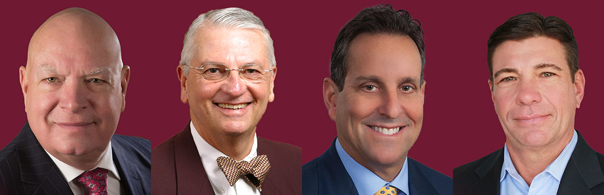 The FSU College of Business 2017 Hall of Fame class: Douglas Dunlap, Clifford Hinkle, Stuart Lasher and Thomas McAlpin.
