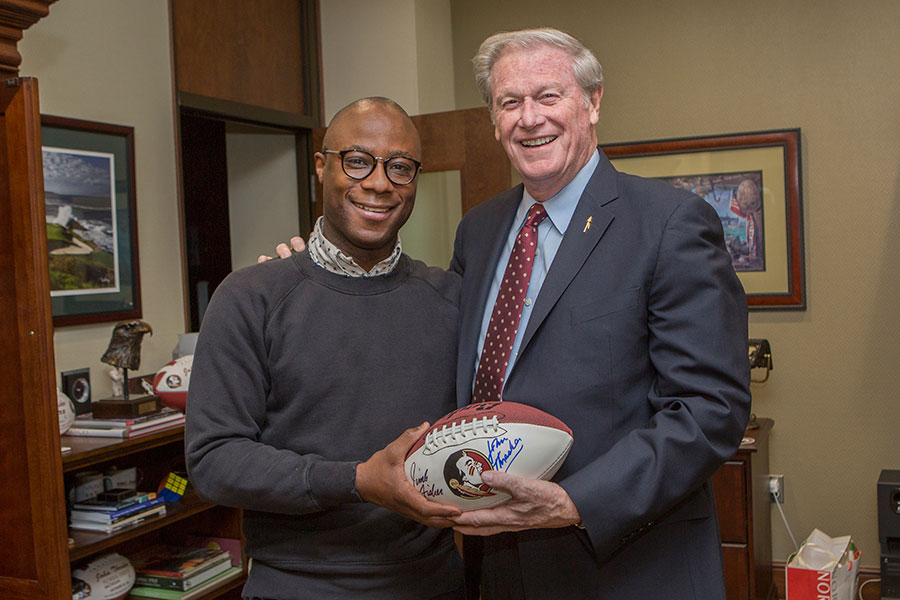 Barry Jenkins and President John Thrasher, March 31, 2017.