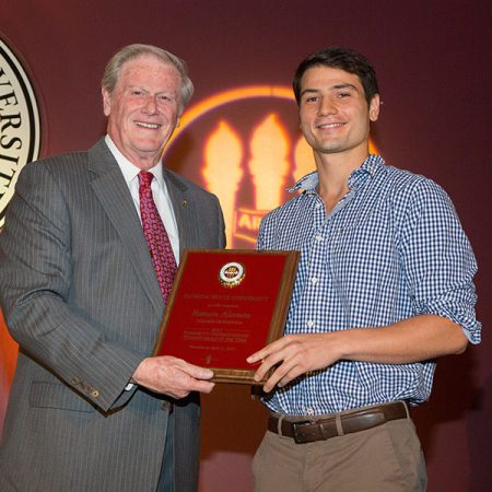 President John Thrasher recognizes Ramon Aleman as the 2017 President's Undergraduate Humanitarian of the Year.