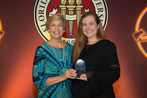 "Vice President for Student Affairs Mary Coburn honors Megan Frederico with the 2017 Bob E. Leach Award, given to an outstanding student who is known for exemplary leadership and service to the university, and who displays an attitude of ""caring and sharing."""