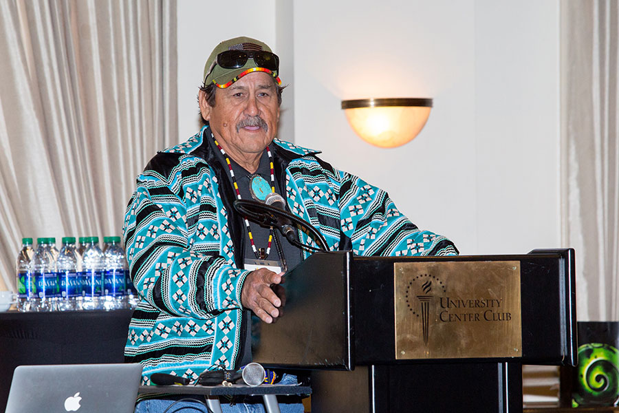 Moses Jumper Jr. from the Seminole Tribe of Florida speaks during a luncheon honoring his mother, Betty Mae Jumper.