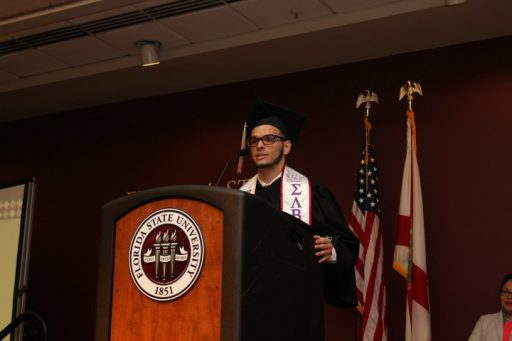 Jimmy Calvo delivers a student reflection to his peers at the V-rak-ke-ce-tv Cultural Graduation Ceremony on May 4, 2017.