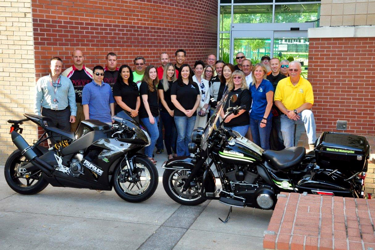 Sgt. Jason Harris and Officer Brett Sheffield of FSUPD joined members of the Florida Motorcycle Safety Coalition as they delivered a proclamation from Gov. Rick Scott to the Florida Highway Patrol in Tampa.