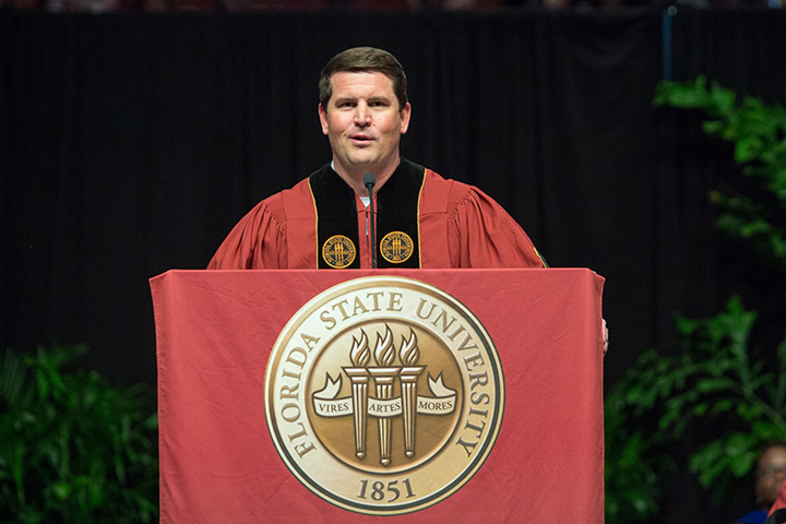 Entrepreneur and alumnus Brian Murphy addresses the graduates of FSU's Saturday afternoon commencement ceremony.