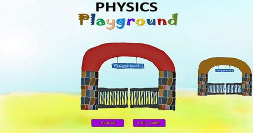 A screenshot of an interactive video game designed to teach physics to students new to the subject.