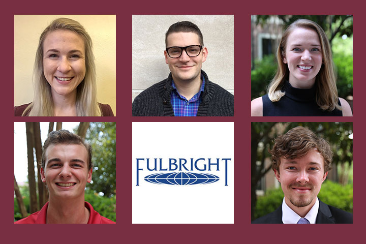 Florida State University's five recipients of 2017-2018 U.S. Fulbright Student Awards are: (from left to right) Top: Mia Hartley, Jesse Marks, Chelsea Elzinga, Noah Gomez and Brendan Rempert.