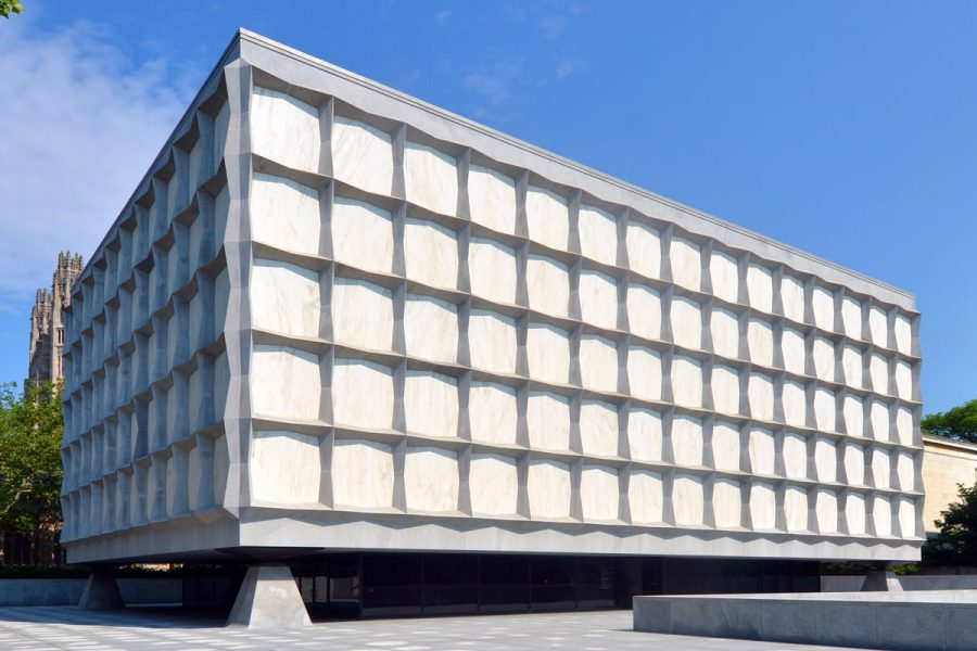 Various views of Beinecke Plaza, formally known as Hewitt Quadrangle, that surrounds the Beinecke Rare Book & Manuscript Library