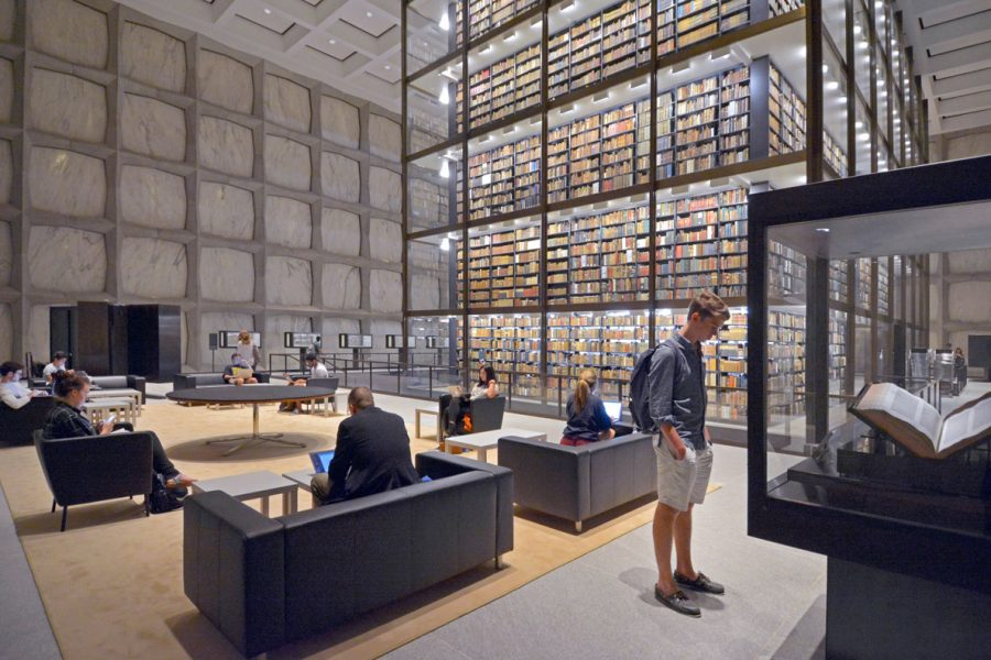 The Beinecke Rare Book and Manuscript Library contains one of the largest collections of books and manuscripts in the world.