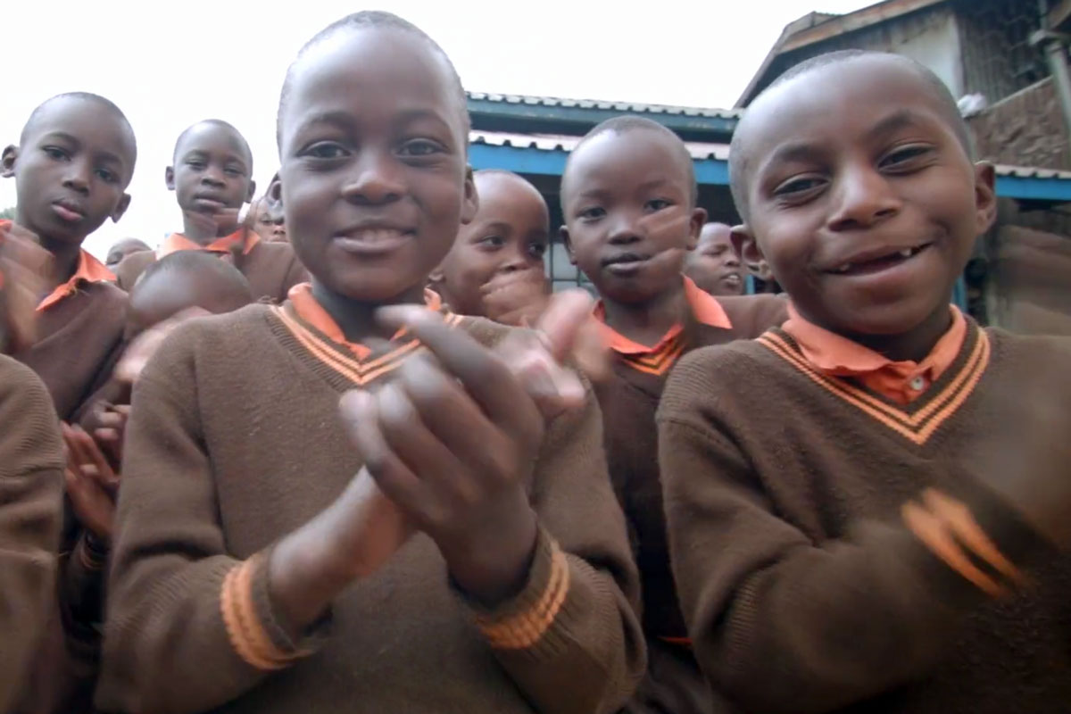 This children's choir in Kibera, Kenya — outside Nairobi — joined the AVoice4Peace project.