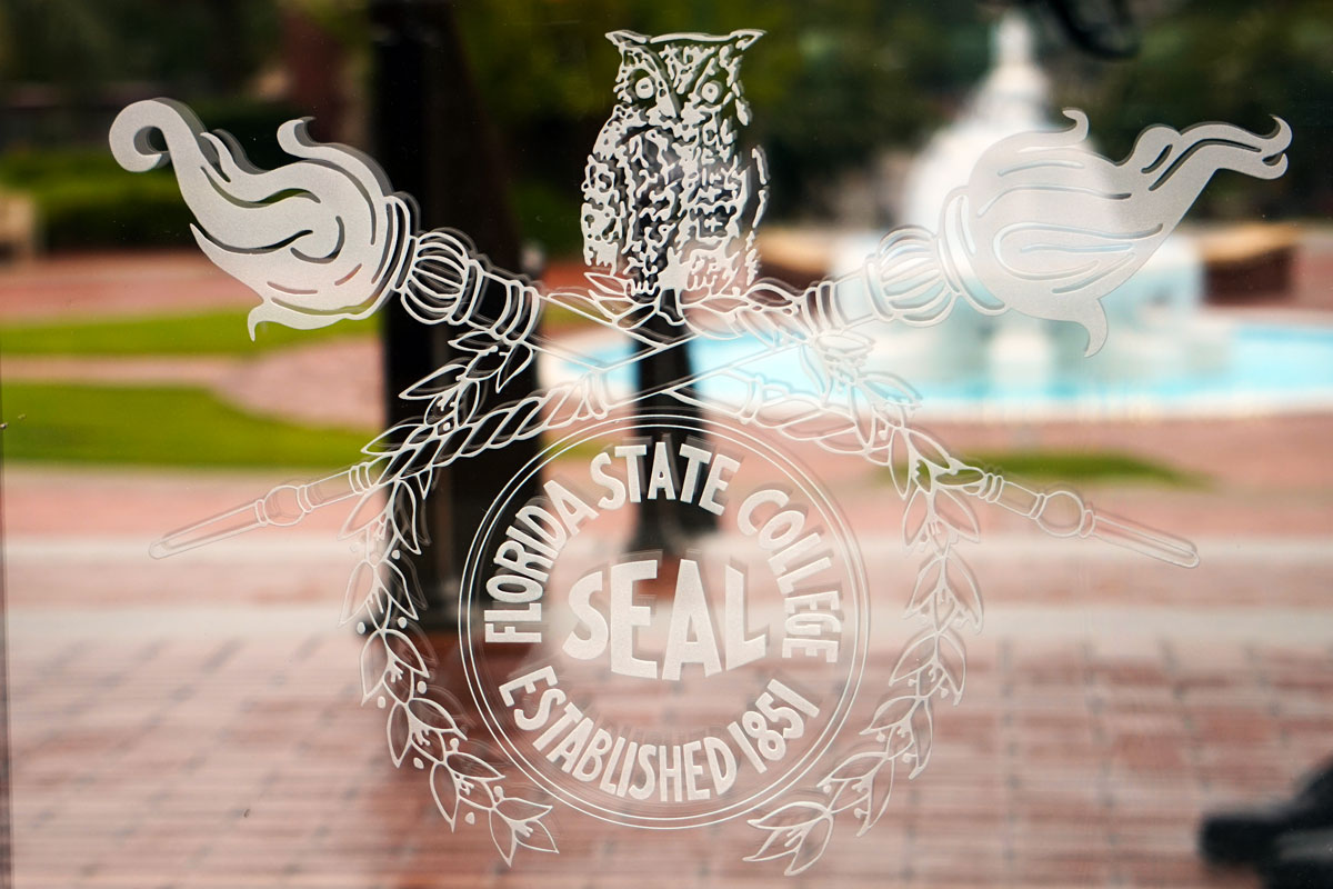 FSU's Master Craftsman Studio also produced glass etchings of owls for the front doors of the Westcott Building.
