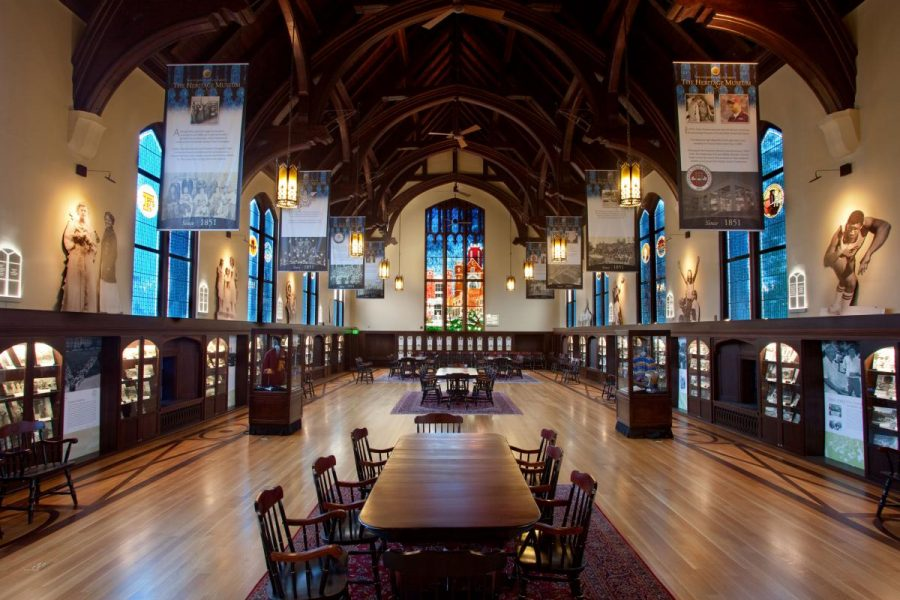 The Heritage Museum, also known as the Werkmeister Humanities Reading Room, is located in Dodd Hall's west wing. That's the oldest part of the building. The huge stained-glass glass window in the room depicts four of the university's best-known buildings.