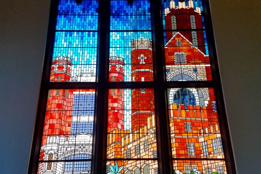 Former FSU President Sandy D'Alemberte, also a former dean of the College of Law and current professor, is being honored with a handmade stained glass window in Dodd Hall's Heritage Museum. The window is expected to be installed in fall 2017.