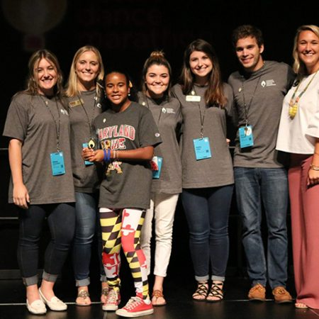 Dance Marathon at FSU accepts the Miracle Maker Award, from left: Alexa Hirschfield, Chloe Milthorpe, Olivia (Miracle Child from Terp Thon), Niki Little, Kelly Miller, Eric Massey and Taylor Dietrich, Senior Area Dance Marathon Manager for the Southeast.