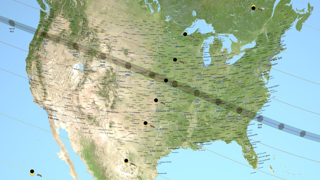 The narrow path of totality will pass through 14 states: Oregon, Idaho, Wyoming, Montana, Nebraska, Iowa, Kansas, Missouri, Illinois, Kentucky, Tennessee, Georgia, and North and South Carolina. The eclipse will continue until just after 4 p.m. on the East coast.