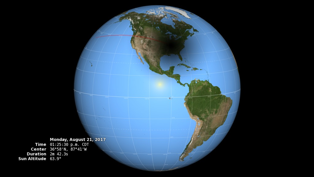 Anyone in North America will be able to see a partial eclipse. A total eclipse, where the moon totally blocks the sun for a couple of minutes, will happen along a roughly 70-mile wide path from Oregon to South Carolina. The path of totality will pass over the U.S. starting in Oregon at 9:05 a.m. PDT. The last time a total eclipse affected the U.S. was in 1979 but that one only moved across the Northwest. A total eclipse passing across the entire nation, like the upcoming one on Aug. 21, has not happened since June 1918. (Credit: NASA)