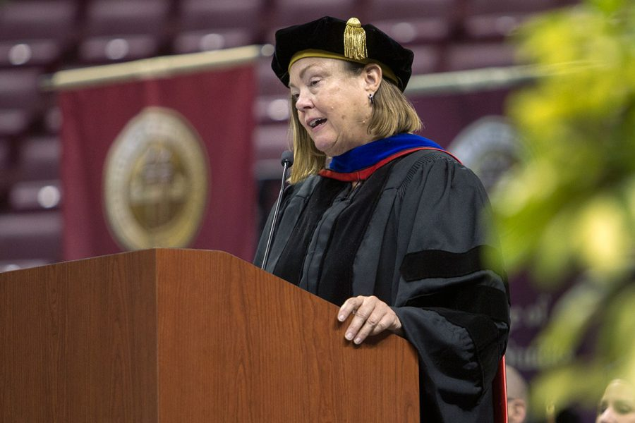 Provost Sally McRorie at New Student Convocation Aug. 27, 2017. (FSU Photography Services)
