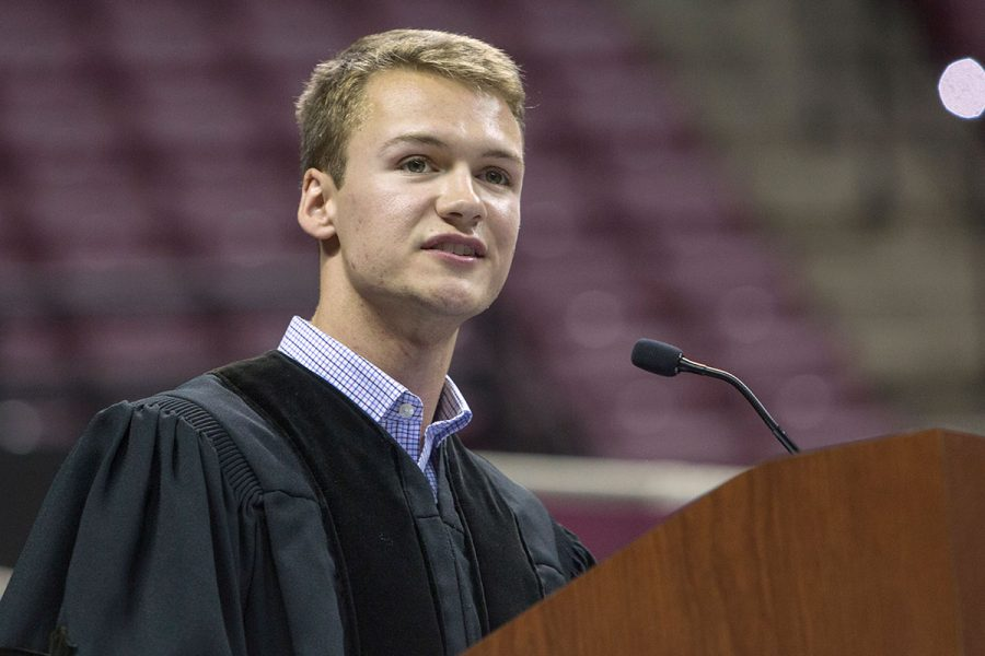 Student Body President Kyle Hill at New Student Convocation Aug. 27, 2017. (FSU Photography Services)