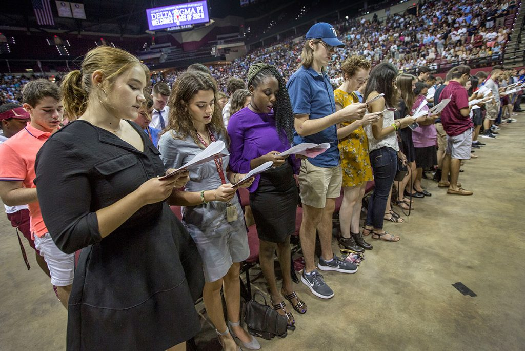 Students also recited the Seminole Creed at New Student Convocation Aug. 27, 2017. (FSU Photography Services)