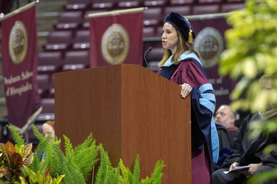 Amy Hecht, vice president for Student Affairs, at New Student Convocation Aug. 27, 2017. (FSU Photography Services)