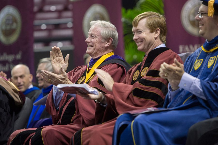President John Thrasher and Adam Putnam, Commissioner of Agriculture, at New Student Convocation Aug. 27, 2017. (FSU Photography Services)