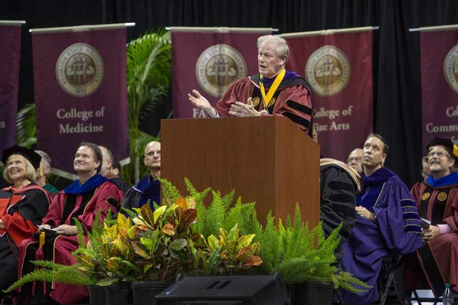 President Thrasher at New Student Convocation Aug. 27, 2017. (FSU Photography Services)