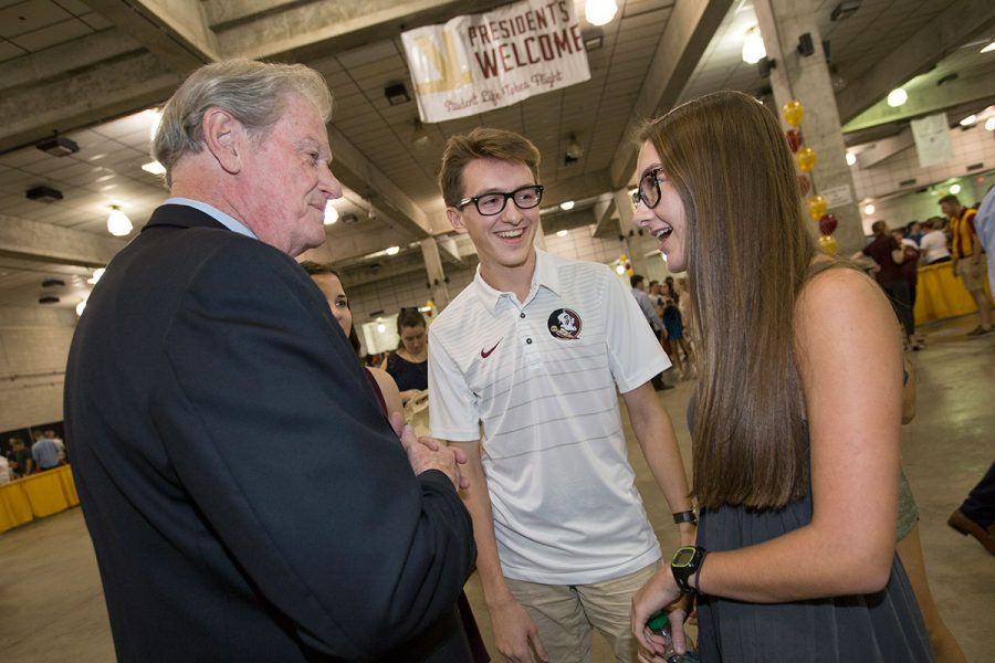 President Thrasher greets students at the 2017 President's Welcome Aug. 27, 2017. (FSU Photography Services)