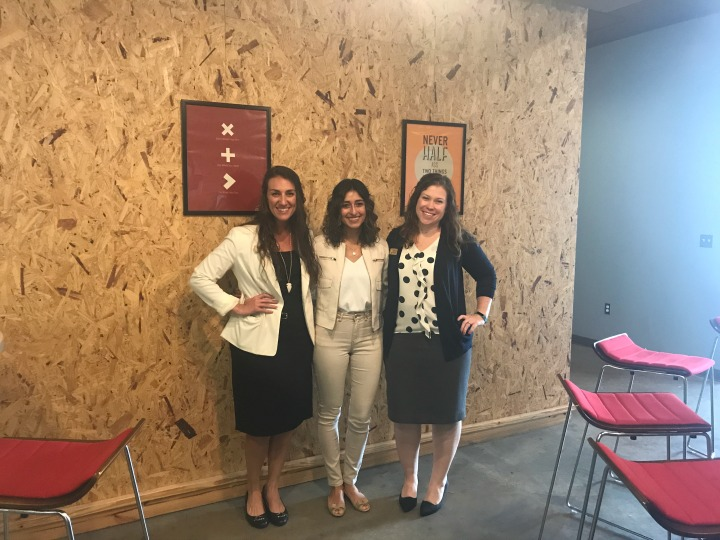 Senior Assistant Directors for Experiential Learning, Lauren Kume and Megan Hollis, with Sabrina Torres, Domi Station Director of Community.
