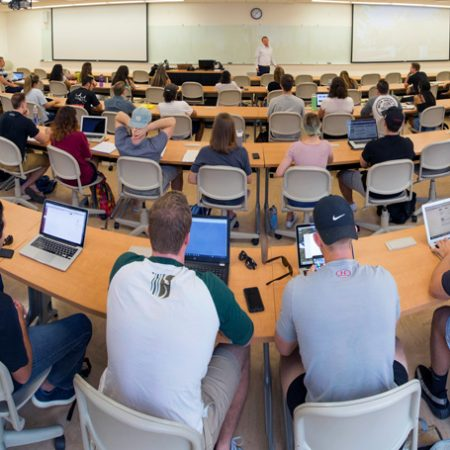 The first class of the Jim Moran School of Entrepreneurship is held on Monday, Aug. 28, 2017, in FSU's Health and Wellness Center.