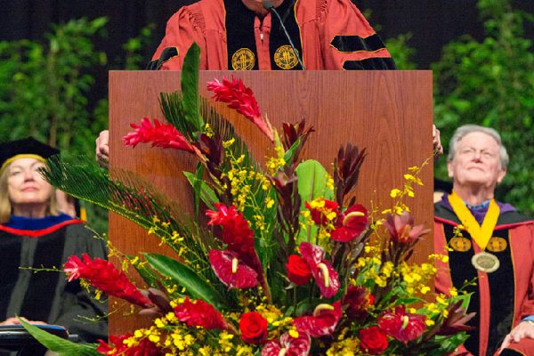 Martin, an FSU alumnus and Hall of Fame coach, delivered a lighthearted and unique commencement speech filled with photos of campus evolution mixed with inspiring videos and memorabilia.