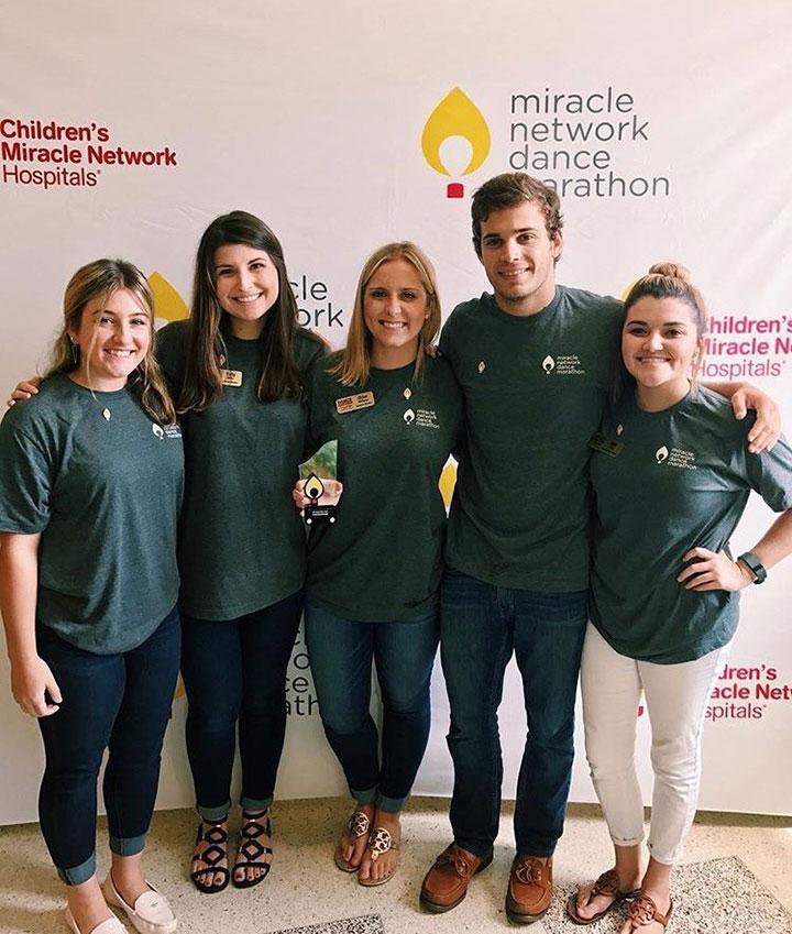 Dance Marathon at FSU wins Miracle Maker Award, from left: Alexa Hirschfield, Kelly Miller, Chloe Milthorpe, Eric Massey and Niki Little.