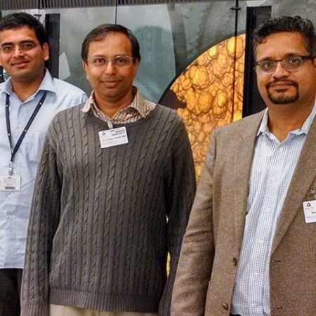 FSU-led research team uses supercomputer simulations to track spread of disease on commercial airliners. From left, co-PI Sirish Namilae of Embry-Riddle Aeronautical University, Florida State University Associate Professor of Computer Science Ashok Srinivasan and C.D. Sudheer of of Argonne National Lab.
