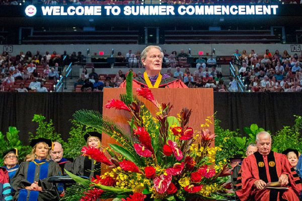 FSU President John Thrasher presided over the Aug. 5 ceremony at the Donald L. Tucker Civic Center.
