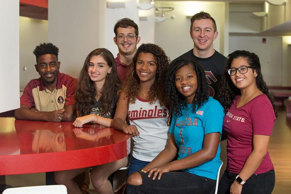 FSU welcomes back about 42,000 students for the 2017 fall semester. (L to R) Senior Corey Wheeler, freshman Giovanna Garcia, freshman Justin Marquez, junior Danisha Carrasco, sophomore Tabisha Raymond, freshman Carson Tappan and senior Maria Montano are excited for the start of classes Monday, Aug. 28.
