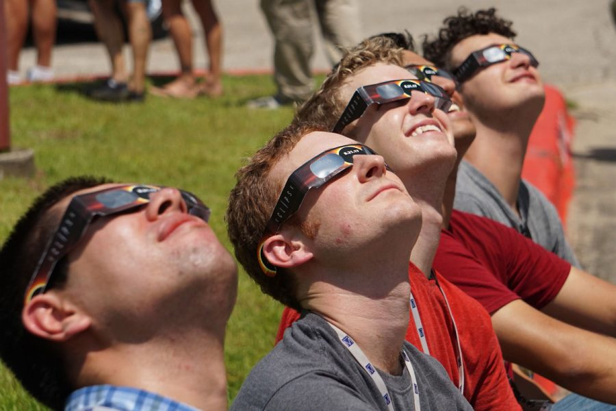 Solar eclipse watching party at the MagLab on Aug. 21, 2017. (Dave Heller)