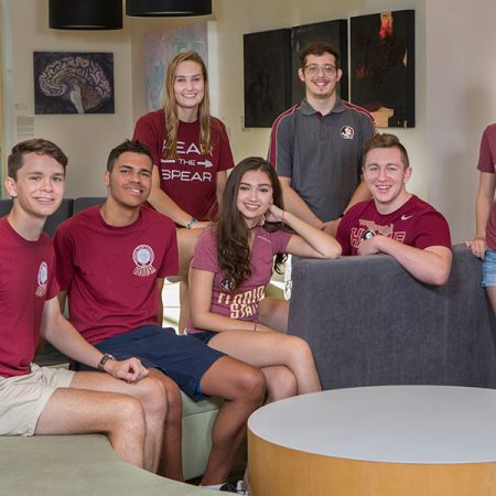 Members of the fourth class of the Presidential Scholars program: (L to R) Dexter Bell, Sanford, Fla.; Kylie Bugbee, Marietta, Ga.; Antwane Henderson, Lynn Haven, Fla.; Justin Marquez, Tampa, Fla.; Giovanna Garcia, Miami, Fla.; Carson Tappan, Louisburg, Kan.; and Molly McQueeney, Osprey, Fla.