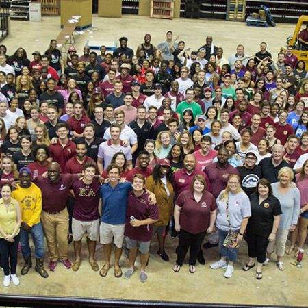 More than 250 FSU students and 100 staff volunteers assembled care packages for Hurricane Irma victims Friday, Sept. 15, at the Donald L. Tucker Civic Center. (FSU Photography Services)