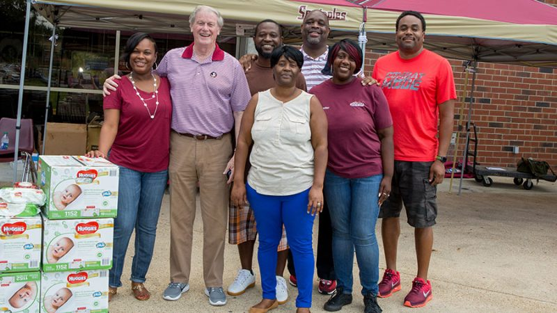 President John Thrasher and FSUPD Chief David Perry were among the FSU staff members helping at the Hurricane Irma relief drive Thursday, Sept. 14, at the Donald L. Tucker Civic Center.