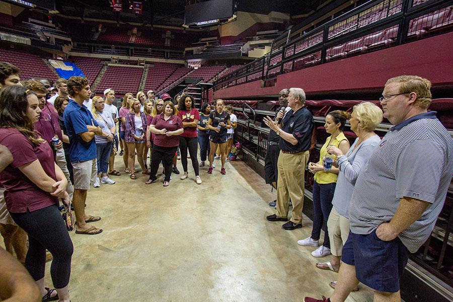 President Thrasher addresses the more than 250 FSU students and 100 staff volunteers who assembled care packages for Hurricane Irma victims Friday, Sept. 15, at the Donald L. Tucker Civic Center. (FSU Photography Services)
