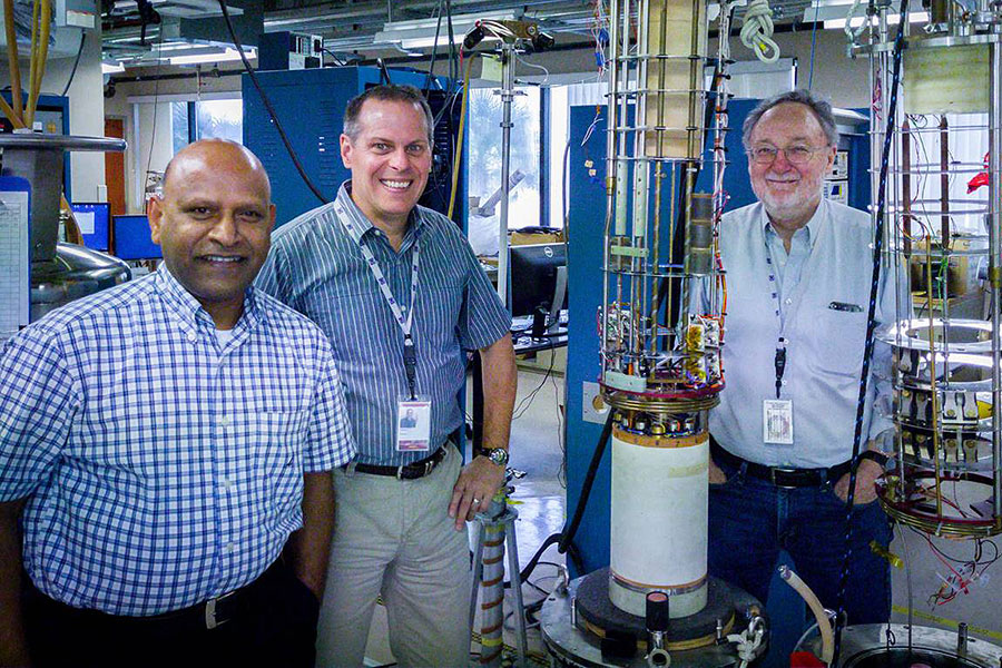 Sastry Pamidi (left), joined by fellow engineers Lance Cooley (middle) and David Larbalestier, landed a grant to make more efficient industrial motors. (Photo credit: Stephen Bilenky/National MagLab)