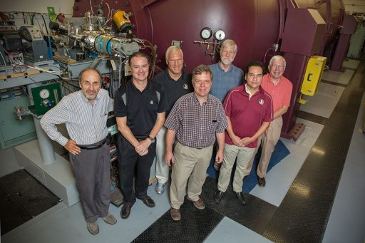 Back row: Professors Samuel Tabor, Mark Riley, Paul Cottle, research faculty Anthony Frawley and Professor Emeritus Kirby Kemper. Front: Professor Ingo Wiedenhoever and Assistant Professor Sergio Almaraz-Calderon.