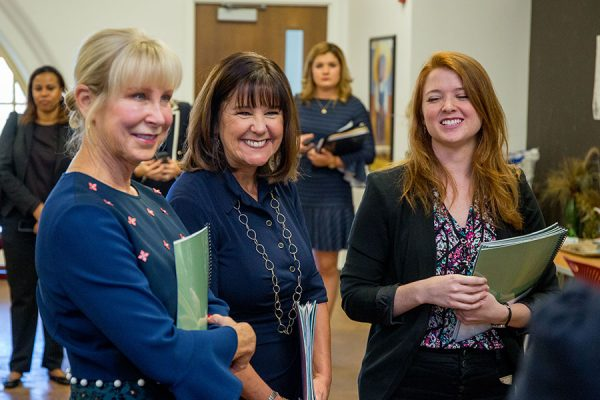 Second Lady Karen Pence (middle) tours the FSU art therapy program with First Lady of Florida Ann Scott (left) at the launch of her new initiative, Art Therapy: Healing with the HeART on Wednesday, Oct. 18, at Florida State University. (FSU Photography Services)