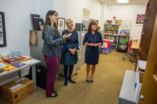 Second Lady Karen Pence (right) tours the FSU art therapy program with First Lady of Florida Ann Scott (middle) at the launch of her new initiative, Art Therapy: Healing with the HeART on Wednesday, Oct. 18, at Florida State University. (FSU Photography Services)
