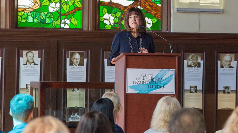 Second Lady Karen Pence announces her new initiative, Art Therapy: Healing with the HeART on Wednesday, Oct. 18, at Florida State University. (FSU Photography Services)