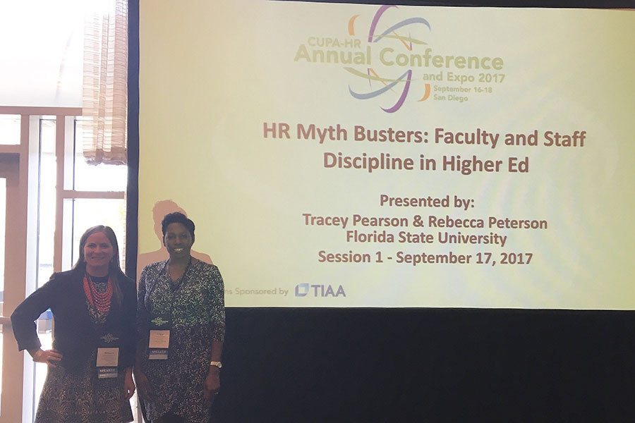 Rebecca Peterson, assistant director of Faculty Relations, and Tracey Pearson, director of Employee and Labor Relations, present at the annual CUPA-HR conference in September.